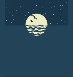ocean background with moon vector image