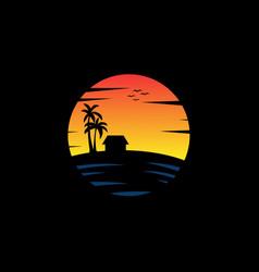 ocean beach sunset travel logo good for travel vector image