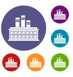 Oil refinery plant icons set vector