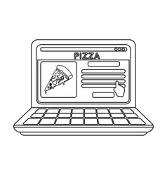 Online pizza icon in outline style isolated on vector image