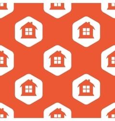 Orange hexagon house pattern vector image