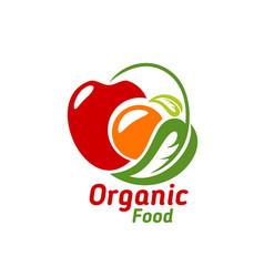Organic food icon emblem eco food label vector