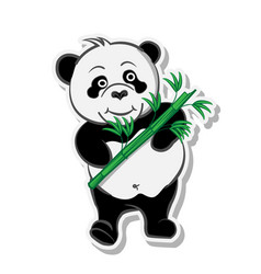 Panda holding bamboo natural sticker vector
