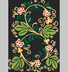 pattern on dark background leaves and berries in vector image