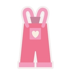 pink overall for baby girl vector image