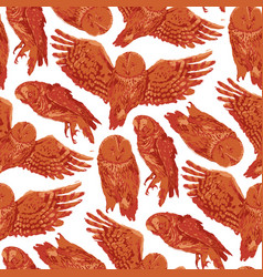 Repeated seamless pattern forest owls vector