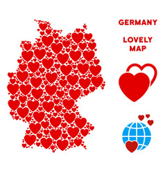 Romantic germany map collage of hearts vector