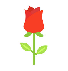 Rose flower flat icon valentines day and romantic vector