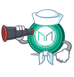 Sailor with binocular maker coin mascot cartoon vector