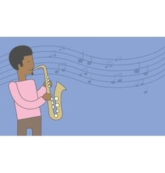 Saxophonist african man vector image