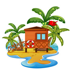 scene with lifeguard house on beach vector image