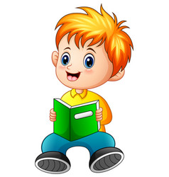 Schoolboy cartoon reading a book vector