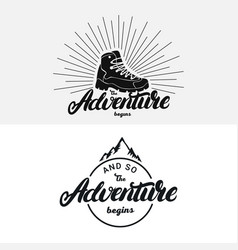 set adventure begins hand written lettering vector image