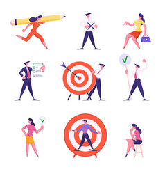 set businesspeople characters carry huge pencil vector image