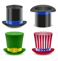 Set hat magician cylinder Uncle Sams hat vector image