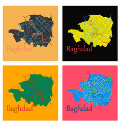 Set of baghdad city map - iraq flat isolated vector