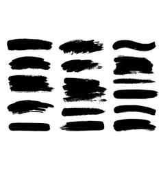 Set of black paint ink brush strokes brushes vector