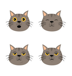set of cartoon cat emoticons in simple flat style vector image