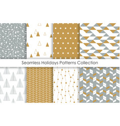Set of christmas seamless patterns collection of vector