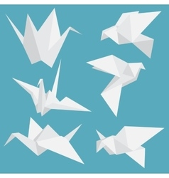 set paper cranes origami birds isolated vector image