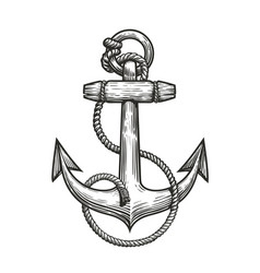 ship anchor and rope in vintage engraving style vector image