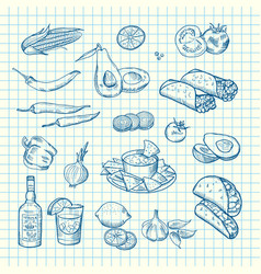 sketched mexican food elements set vector image