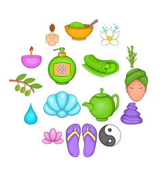 spa icons set cartoon style vector image