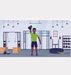 sports man doing exercises with kettlebell african vector image
