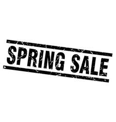 Square grunge black spring sale stamp vector