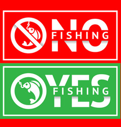 Stickers set no fishing or fishing allowed vector