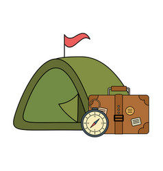 suitcase travel with tent and compass guide vector image
