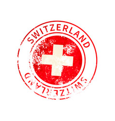 switzerland sign vintage grunge imprint with flag vector image