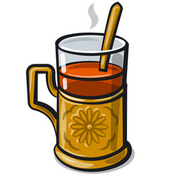 Tea with glass-holder vector