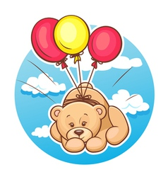 teddy bear flies on balloons vector image