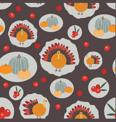thanksgiving pumpkins cranberries turkey seameless vector image