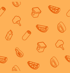vegan life outline isometric icons pattern vector image