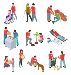 volunteers isometric set people caring homeless vector image