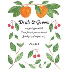 Watercolor wedding invitation vector