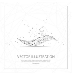Wave digitally drawn low poly wire frame on white vector