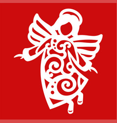 White christmas flying angel on the red background vector