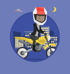 woman riding motorcycle at night vector image