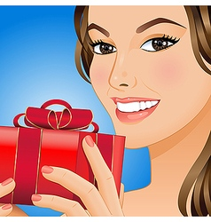 Woman with gift box vector image vector image