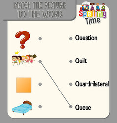 Word to picture matching worksheet for children vector