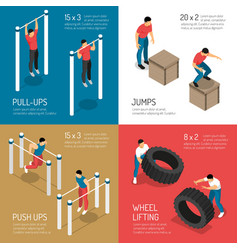 workout isometric design concept vector image