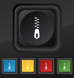 Zipper Icon symbol Set of five colorful stylish vector