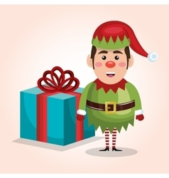 christmas elf with big gift isolated graphic vector image