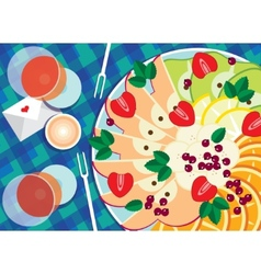 Fruit platter with wine vector image