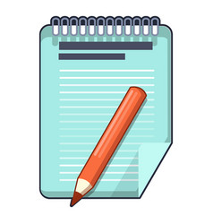 red pencil and notepad icon cartoon style vector image