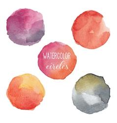 Watercolor circles in warm colors vector image vector image