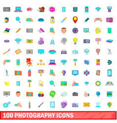 100 photography icons set cartoon style vector image